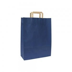 Papieren draagtas platte handgreep - Bruin gestreept gerecycled - Blauw - 18x8x25 cm-0