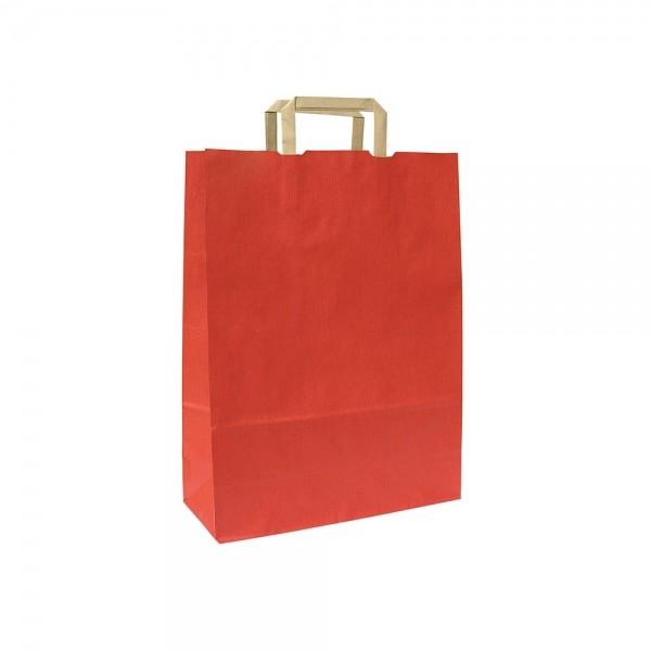 Papieren draagtas platte handgreep - Bruin gestreept gerecycled - Rood - 18x8x25 cm-0