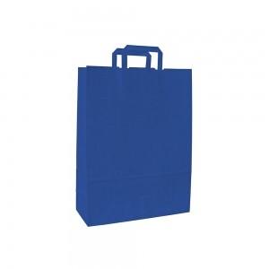 Papieren draagtas platte handgreep - Wit kraft - Blauw - 18x8x25 cm-0