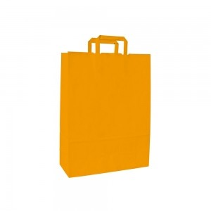 Papieren draagtas platte handgreep - Wit kraft - Geel - 18x8x25 cm-0