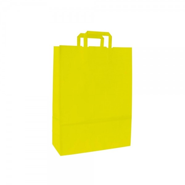 Papieren draagtas platte handgreep - Wit kraft - Citrus - 18x8x25 cm-0