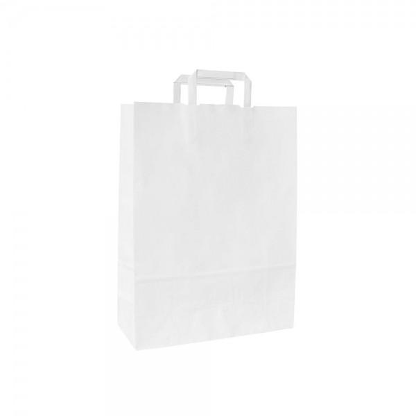 Papieren draagtas platte handgreep - Wit kraft - 18x8x25 cm-0