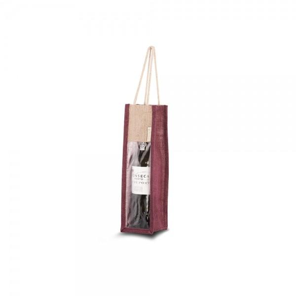 Jute wijntas katoenen handgreep - Bordeaux Rood - 10x10x36 cm-0