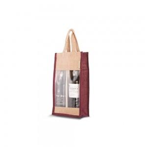 Jute wijntas jute handgreep - Bordeaux Rood - 20,5x11x35,5 cm-0