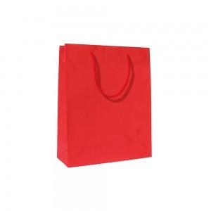 Luxe glans gelamineerde papieren draagtas katoenen koorden omgeslagen bovenrand wit gecoated - Rood - 16x8x25+5 cm -0