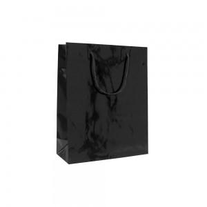 Luxe glans gelamineerde papieren draagtas katoenen koorden omgeslagen bovenrand wit gecoated - Zwart - 14x7x14+4 cm -0