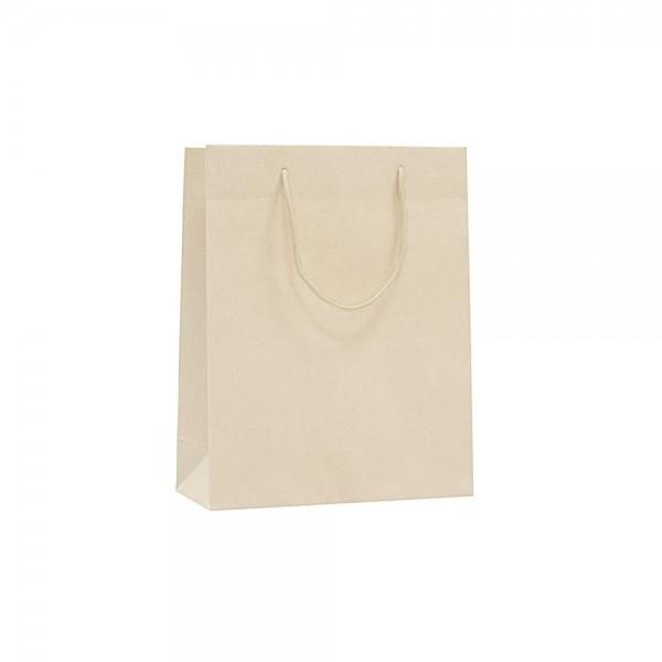 Luxe papieren draagtas katoenen koorden omgeslagen bovenrand bruin gerecycled - Crème - 22x10x27,5+5 cm -0