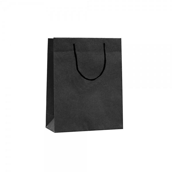 Luxe papieren draagtas katoenen koorden omgeslagen bovenrand bruin gerecycled - Zwart - 22x10x27,5+5 cm -0