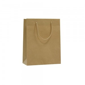 Luxe papieren draagtas katoenen koorden omgeslagen bovenrand bruin gerecycled - 22x10x27,5+5 cm -0