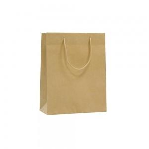 Luxe papieren draagtas katoenen koorden omgeslagen bovenrand bruin gestreept - 16x8x25+5 cm -0