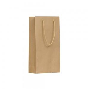 Luxe papieren wijntas katoenen koorden omgeslagen bovenrand bruin gerecycled - 20x9x38+5 cm - Geschikt voor 2 flessen-0