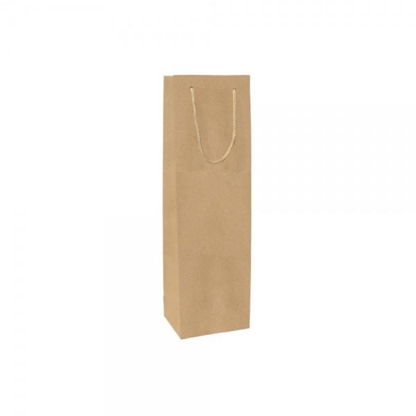Luxe papieren wijntas katoenen koorden omgeslagen bovenrand bruin gerecycled - 12x9x40+5 cm-0