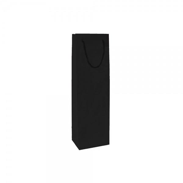 Luxe papieren wijntas katoenen koorden omgeslagen bovenrand bruin gerecycled - Zwart - 12x9x40+5 cm-0