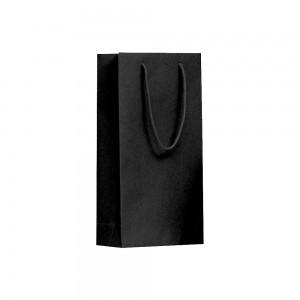 Luxe papieren wijntas katoenen koorden omgeslagen bovenrand bruin gerecycled - Zwart - 20x9x38+5 cm - 2 flessen-0