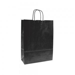 Papieren draagtas gedraaide handgreep - Bruin gestreept - Zwart