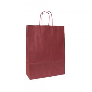 Papieren draagtas gedraaide handgreep - Bruin gestreept - Bordeaux Rood