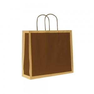 Papieren draagtas gedraaide handgreep - Omgeslagen bovenrand - Bruin gerecycled - Bruin blok - 22x10x27,5+5 cm-0