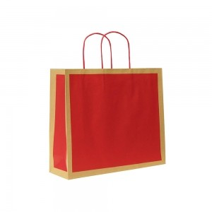 Papieren draagtas gedraaide handgreep - Omgeslagen bovenrand - Bruin gerecycled - Rood blok - 22x10x27,5+5 cm-0