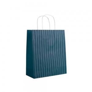 Papieren draagtas gedraaide handgreep - Omgeslagen bovenrand - Wit gerecycled - Blauw, wit gestreept - 38x13x37+6 cm-0