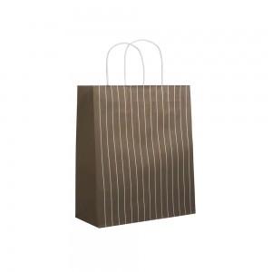 Papieren draagtas gedraaide handgreep - Omgeslagen bovenrand - Wit gerecycled - Bruin, wit gestreept - 54x14x49,5+6 cm-0