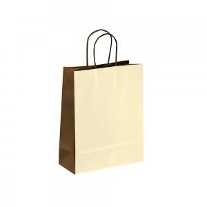Papieren draagtas gedraaide handgreep - Omgeslagen bovenrand - Wit kraft - Beige / Bruin