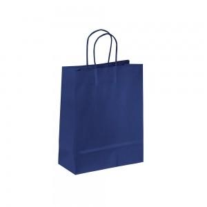 Papieren draagtas gedraaide handgreep - Omgeslagen bovenrand - Wit kraft - Blauw - 18x8x25+5 cm-0