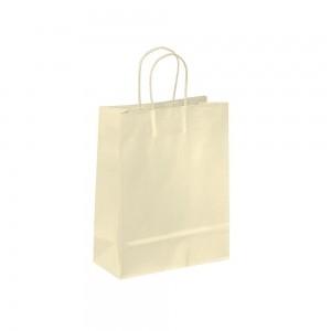 Papieren draagtas gedraaide handgreep - Omgeslagen bovenrand - Wit kraft - Crème - 18x8x25+5 cm-0
