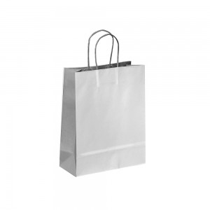 Papieren draagtas gedraaide handgreep - Omgeslagen bovenrand - Wit kraft - Licht Grijs / Grijs - 18x8x20+5 cm-0