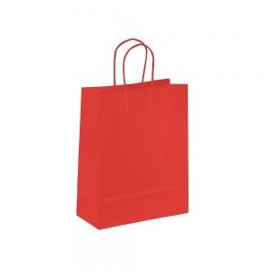 Papieren draagtas gedraaide handgreep - Omgeslagen bovenrand - Wit kraft - Rood - 18x8x25+5 cm-0