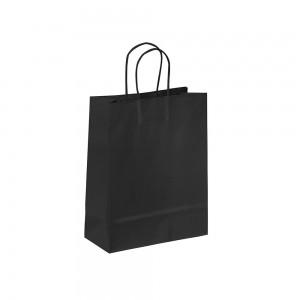 Papieren draagtas gedraaide handgreep - Omgeslagen bovenrand - Wit kraft - Zwart - 18x8x25+5 cm-0