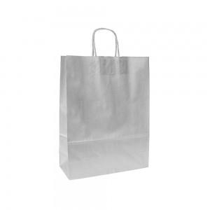 Papieren draagtas gedraaide handgreep - Wit gestreept - Zilver - 15x8x20 cm-0