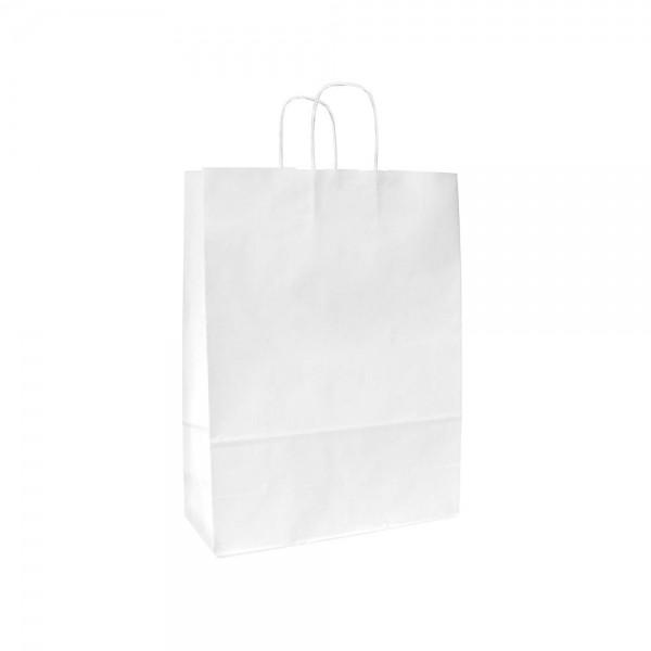 Papieren draagtas gedraaide handgreep - Wit gestreept - 15x8x20 cm-0