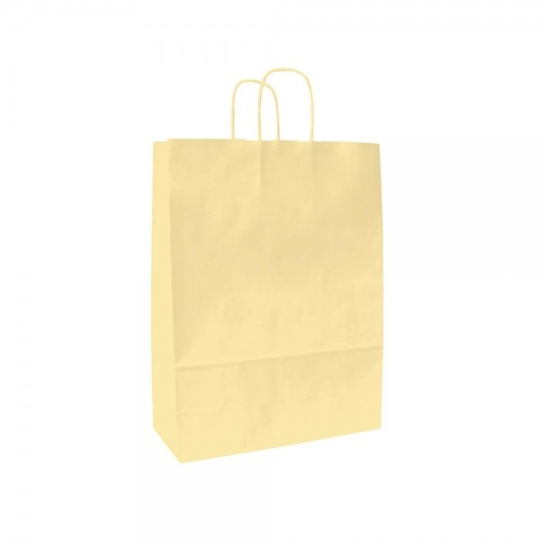 Papieren draagtas gedraaide handgreep - Wit kraft - Beige - 18x8x25 cm-0