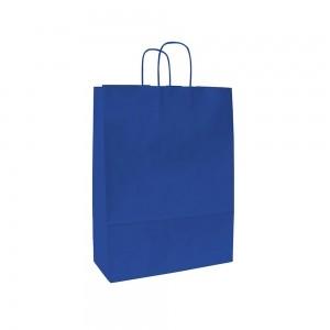 Papieren draagtas gedraaide handgreep - Wit kraft - Blauw - 18x8x25 cm-0