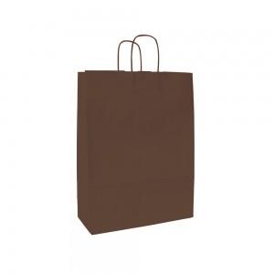 Papieren draagtas gedraaide handgreep - Wit kraft - Bruin