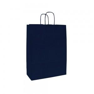 Papieren draagtas gedraaide handgreep - Wit kraft - Donkerblauw - 18x8x25 cm-0
