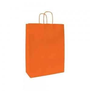 Papieren draagtas gedraaide handgreep - Wit kraft - Oranje - 18x8x25 cm-0
