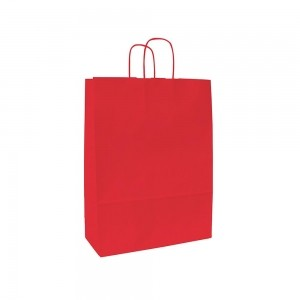 Papieren draagtas gedraaide handgreep - Wit kraft - Rood - 15x8x20 cm-0