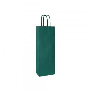 Papieren wijntas gedraaide handgreep - Bruin gestreept - Groen 15x8x39,5 cm-0
