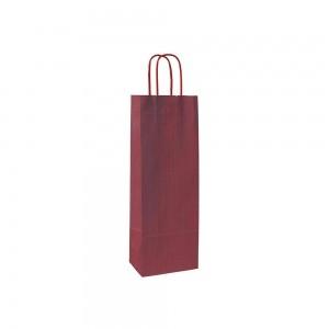 Papieren wijntas gedraaide handgreep - Bruin gestreept - Bordeaux Rood 15x8x40 cm-0