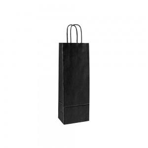 Papieren wijntas gedraaide handgreep - Bruin gestreept - Zwart 15x8x39,5 cm-0