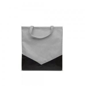 PP non-woven draagtas korte handgreep - Grijs/Zwart - 38x42cm-0