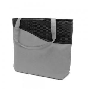 PP non-woven draagtas schouderhengsels met rits - Grijs/Zwart - 50x40 + 12cm (bodem)-0
