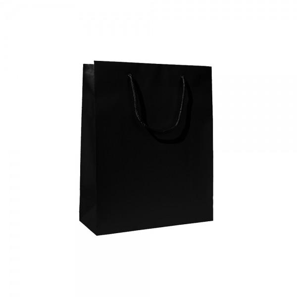 Luxe papieren draagtas katoenen koorden omgeslagen bovenrand wit kraft ongelamineerd - Zwart - 64x20x46+6 cm -0
