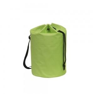 Polyester draagtas trekkoord sluiting + schouderband - Groen - Ø30x50 cm-0