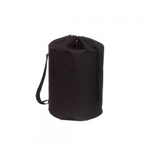 Polyester draagtas trekkoord sluiting + schouderband - Zwart - Ø30x50 cm-0