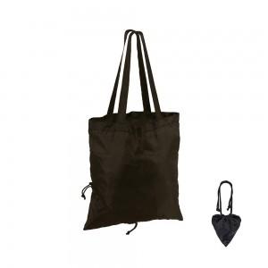 Opvouwbare nylon draagtas schouderhengsels - Zwart - 41x37 cm-0