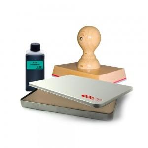 Handstempel pakket (voorzien van stempel, inktkussen & inkt)-0