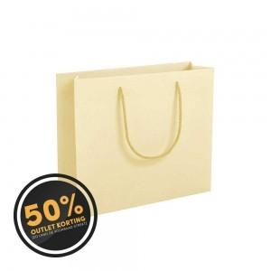Luxe papieren draagtas katoenen koorden omgeslagen bovenrand - Wit kraft - Crème - 32x10x27,5+5 cm -0