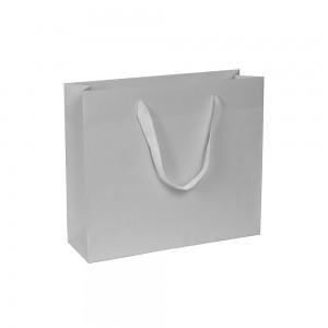 Luxe papieren draagtas - katoenen linten - omgeslagen bovenrand - wit kraft - Grijs - 24x8x20+5 cm-0